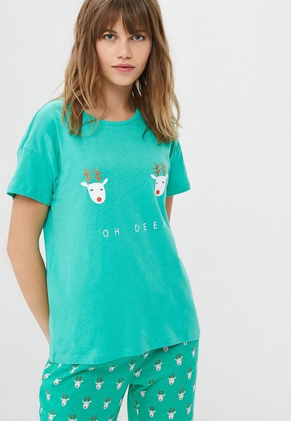 женская футболка noisy may, зеленая