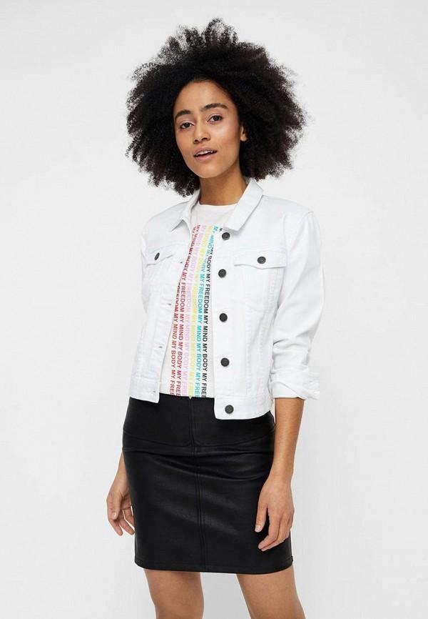 женская джинсовые куртка noisy may, белая
