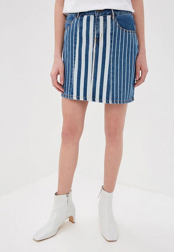 женская джинсовые юбка noisy may, синяя