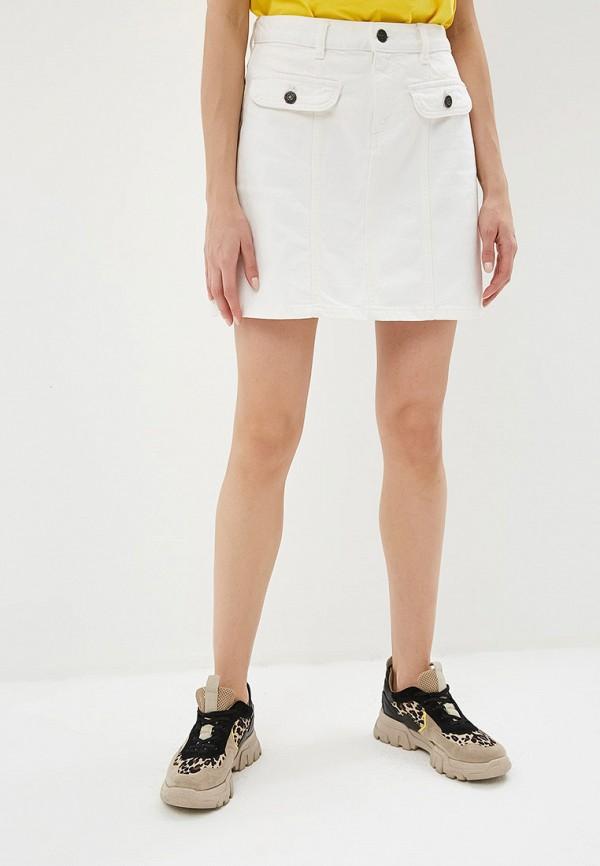 женская джинсовые юбка noisy may, белая