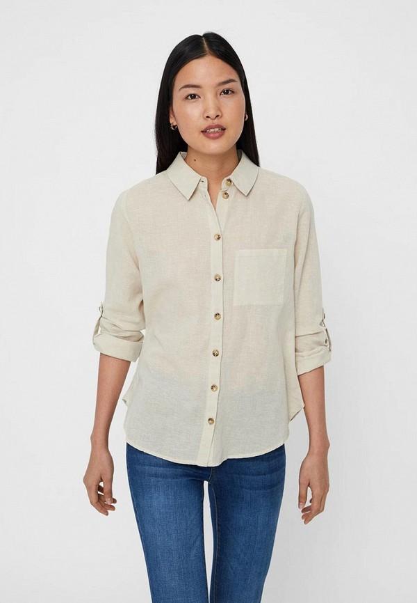 женская рубашка с длинным рукавом noisy may, бежевая