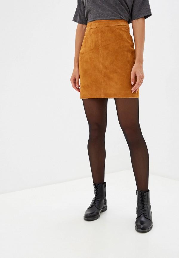 женская юбка noisy may, коричневая