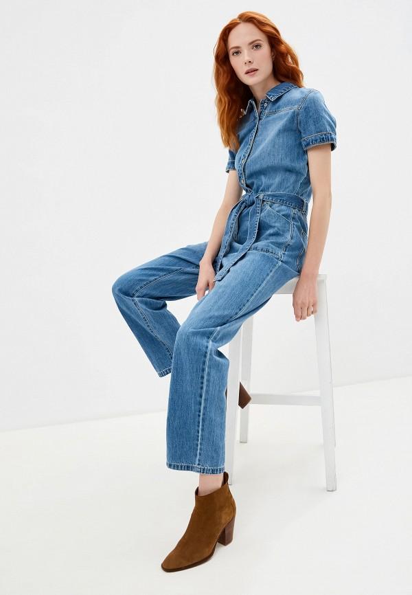 женский джинсовые комбинезон noisy may, голубой