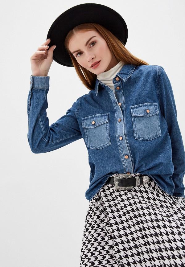женская джинсовые рубашка noisy may, синяя