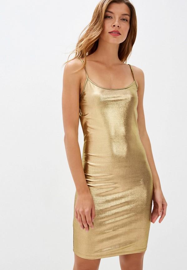 женское платье noisy may, золотое