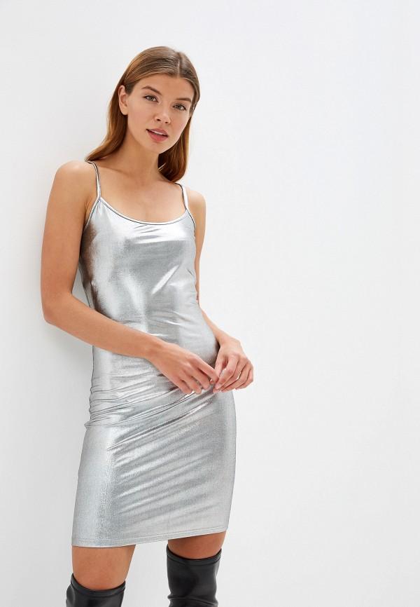 женское платье noisy may, серебряное