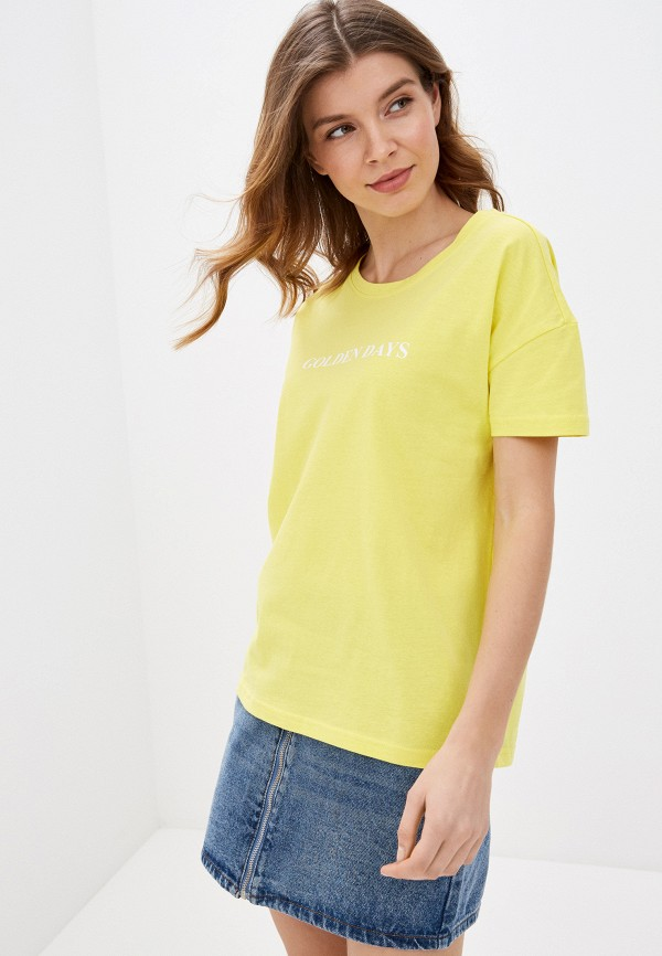 женская футболка noisy may, желтая