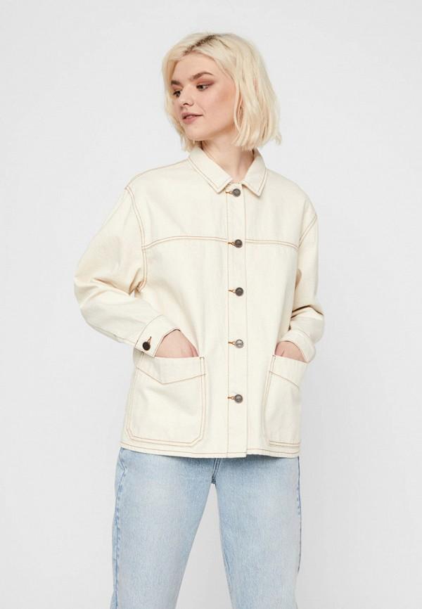 женская джинсовые куртка noisy may, бежевая