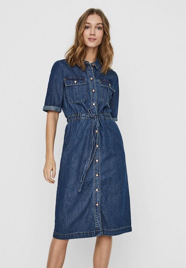женское джинсовые платье noisy may, синее