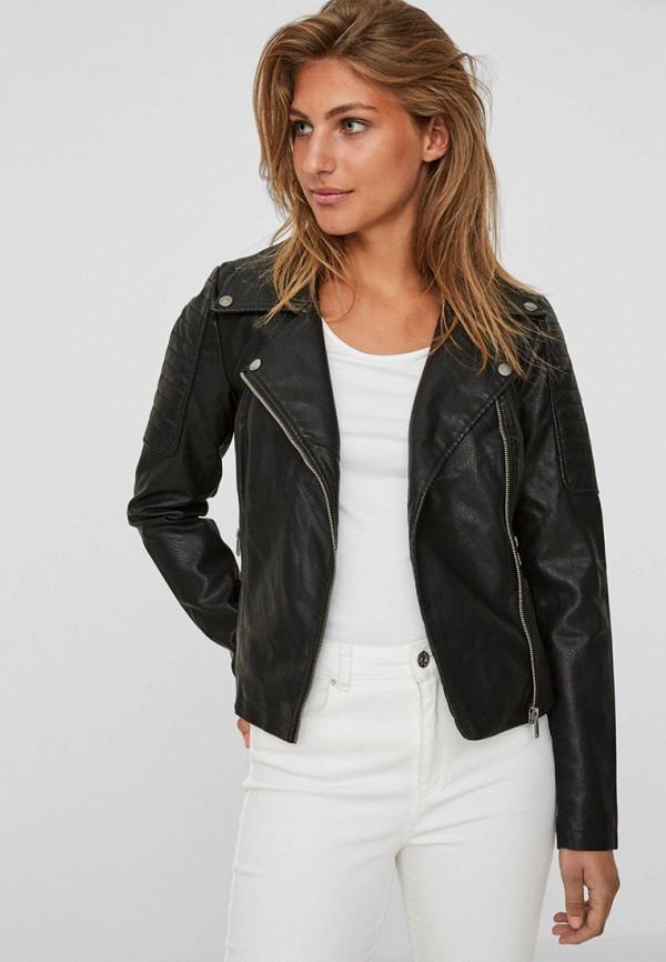 женская куртка косухи noisy may, черная