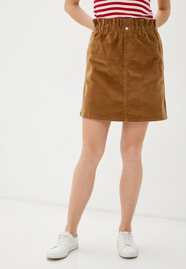 женская прямые юбка noisy may, коричневая