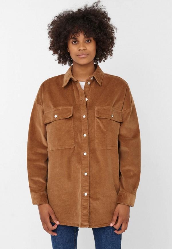 женская рубашка с длинным рукавом noisy may, коричневая
