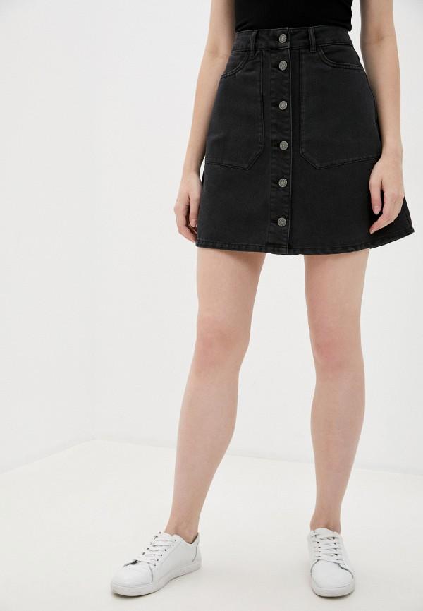 женская джинсовые юбка noisy may, черная