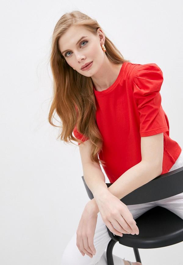 женская футболка nude, красная