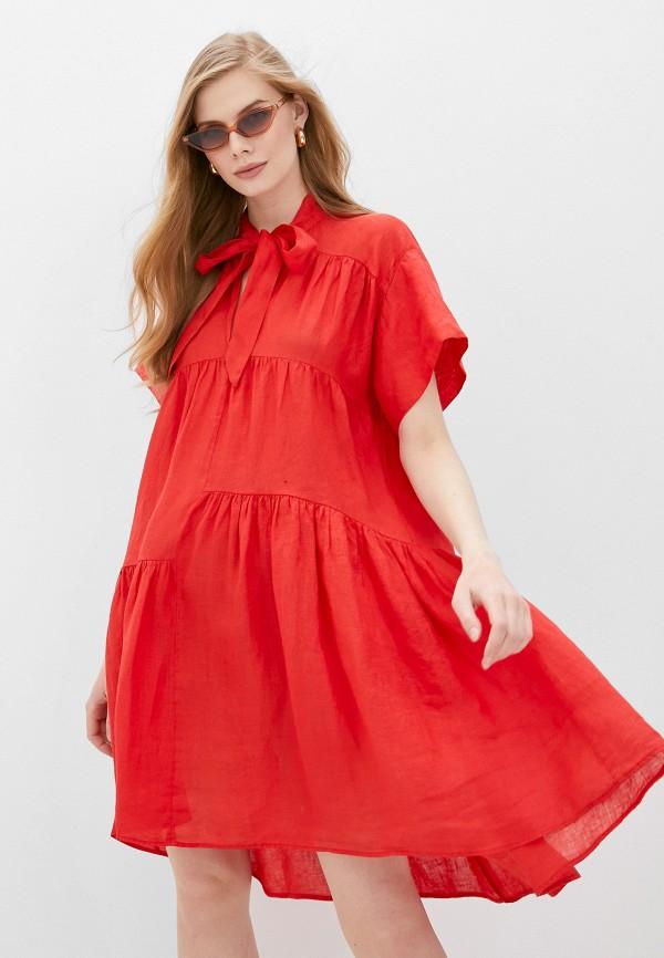 женское повседневные платье nude, красное
