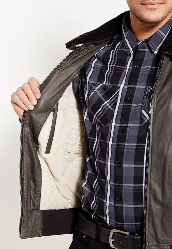 Фото 4 - Куртку кожаная Oakwood цвета хаки