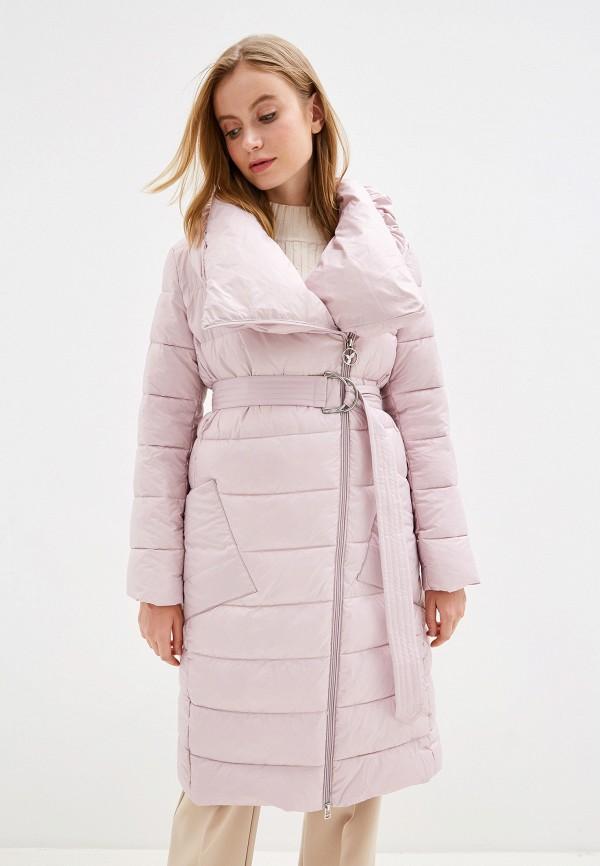 женский пуховик odri mio, розовый