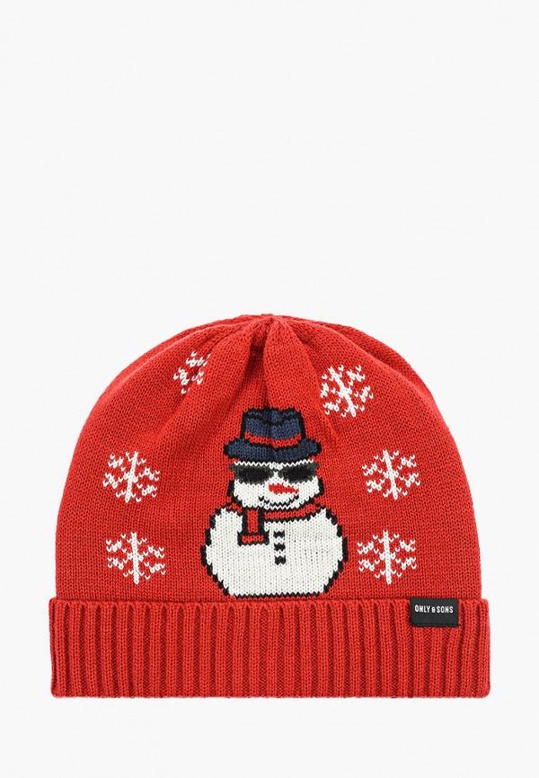 мужская шапка only & sons, красная
