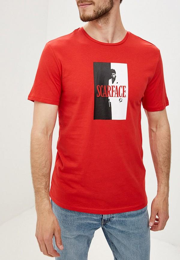 мужская футболка с коротким рукавом only & sons, красная