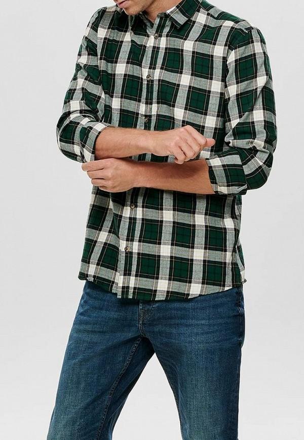 мужская рубашка с длинным рукавом only & sons, зеленая