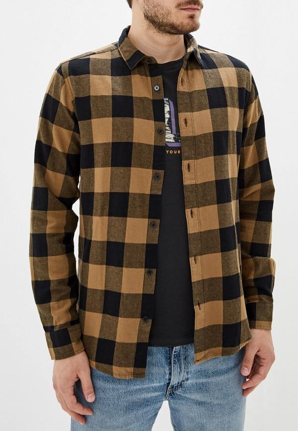 мужская рубашка с длинным рукавом only & sons, коричневая