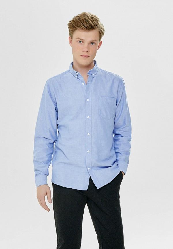мужская рубашка с длинным рукавом only & sons, голубая