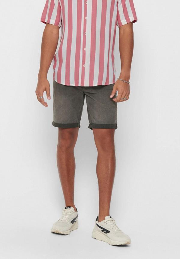 мужские джинсовые шорты only & sons, серые
