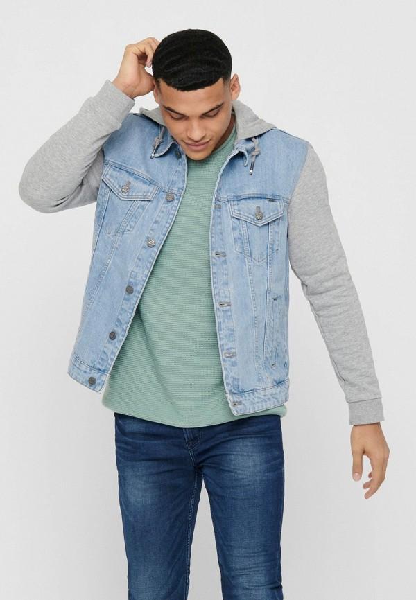 мужская джинсовые куртка only & sons, голубая