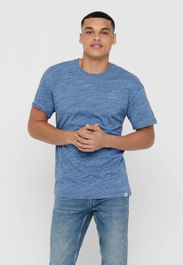 мужская футболка с коротким рукавом only & sons, голубая