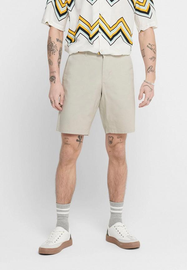 мужские повседневные шорты only & sons, бежевые