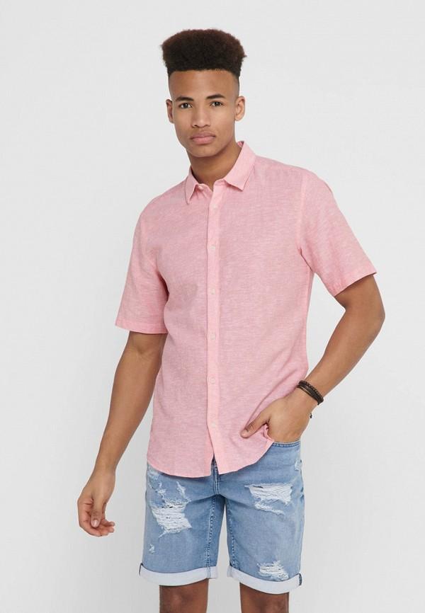 мужская рубашка с коротким рукавом only & sons, розовая