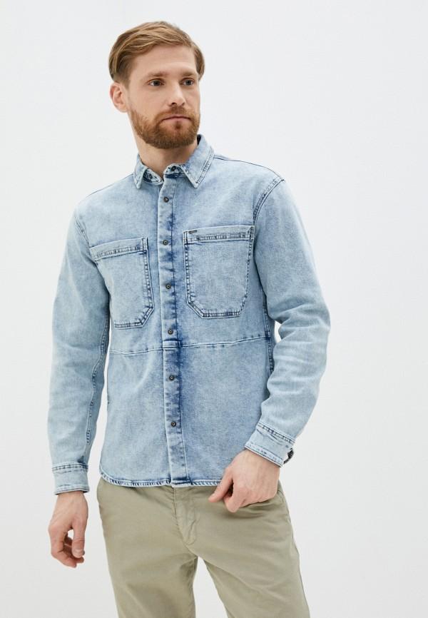 мужская джинсовые рубашка only & sons, голубая