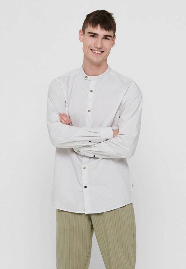 мужская рубашка с длинным рукавом only & sons, белая