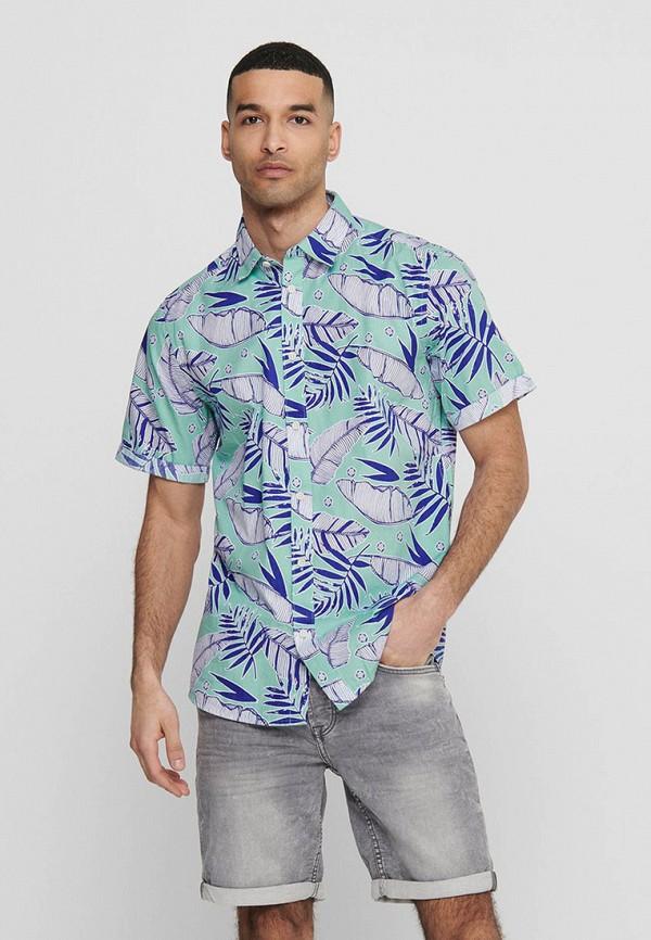 мужская рубашка с коротким рукавом only & sons, бирюзовая