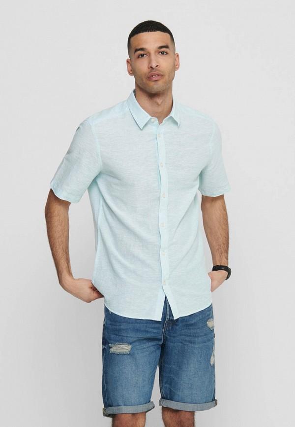 мужская рубашка с коротким рукавом only & sons, голубая
