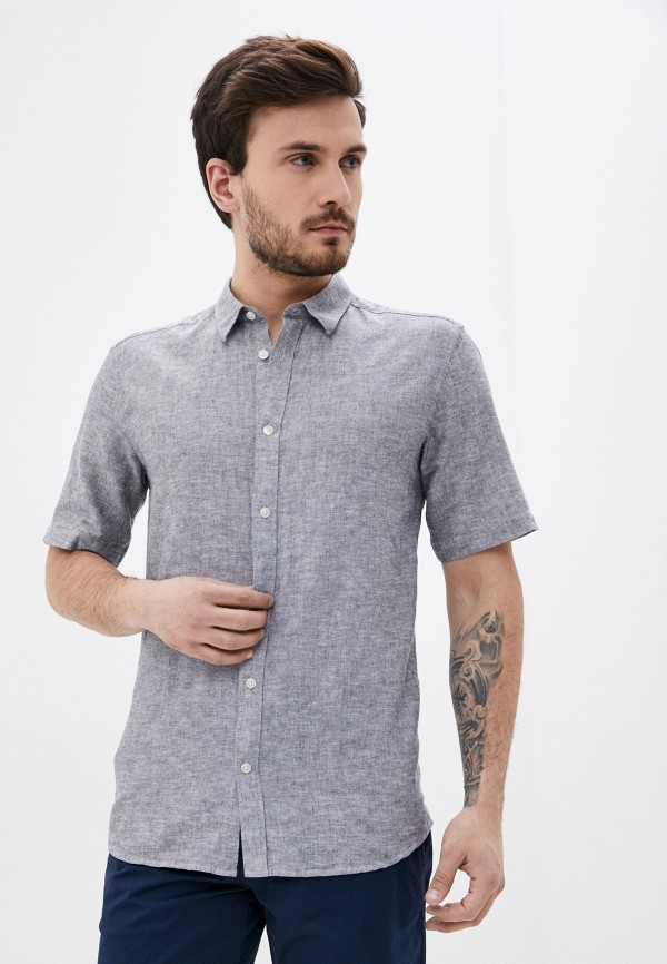 мужская рубашка с коротким рукавом only & sons, серая