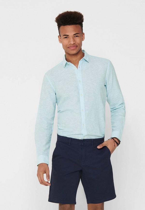 мужская рубашка с длинным рукавом only & sons, бирюзовая