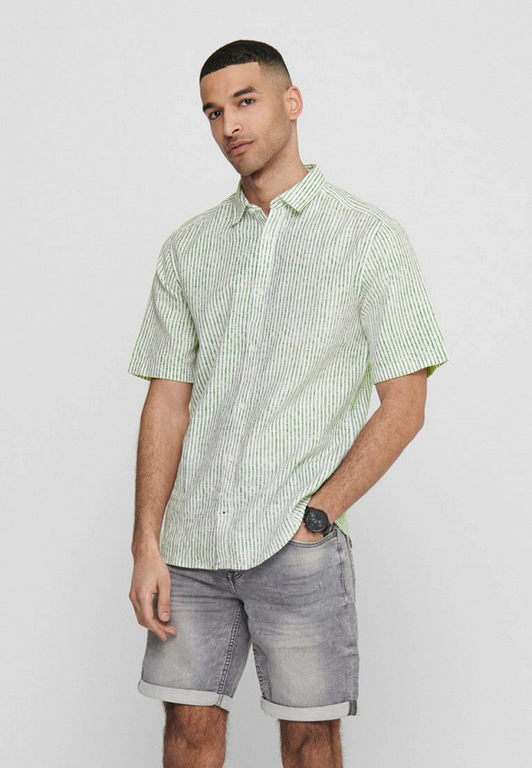 мужская рубашка с коротким рукавом only & sons, синяя