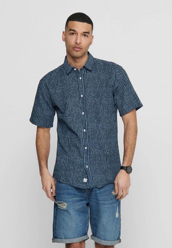 мужская рубашка с коротким рукавом only & sons, бежевая