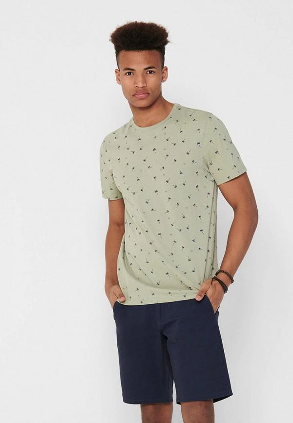 мужская футболка с коротким рукавом only & sons, бежевая