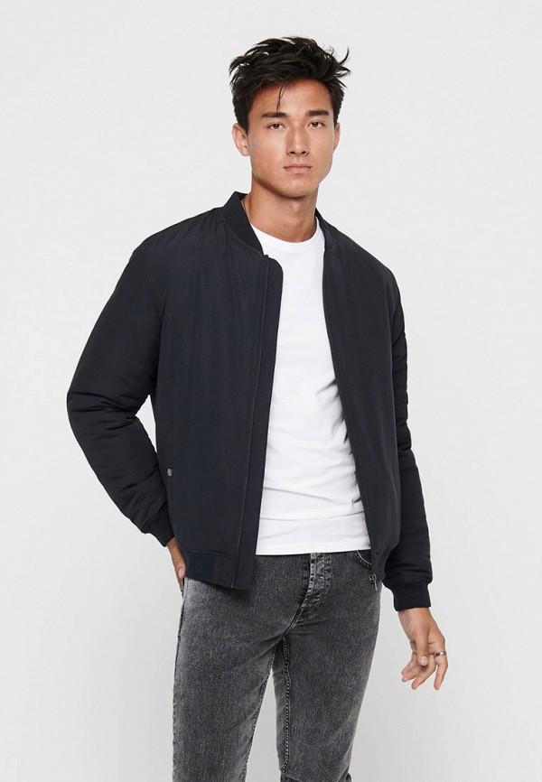 мужская утепленные куртка only & sons, синяя