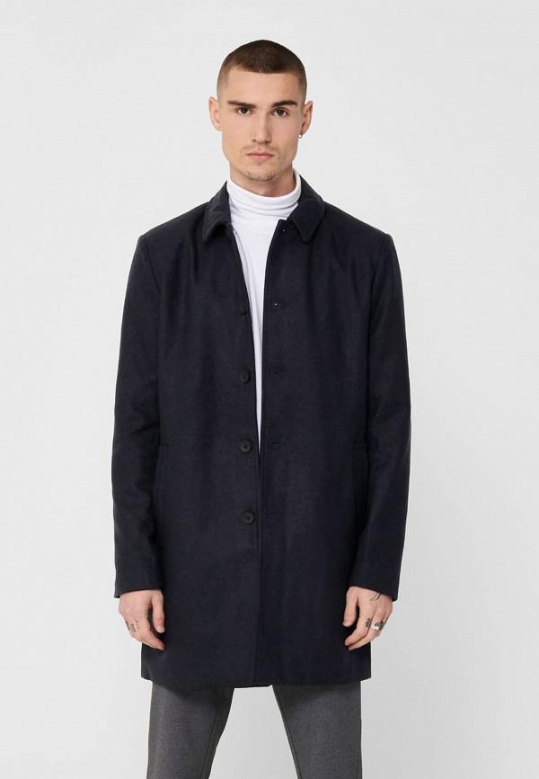 мужское пальто only & sons, синее