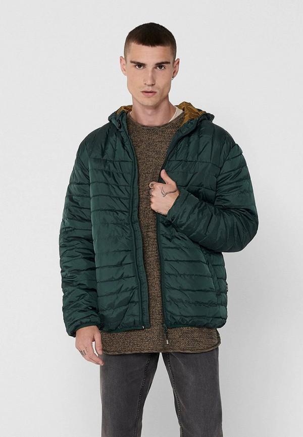 мужская куртка only & sons, зеленая