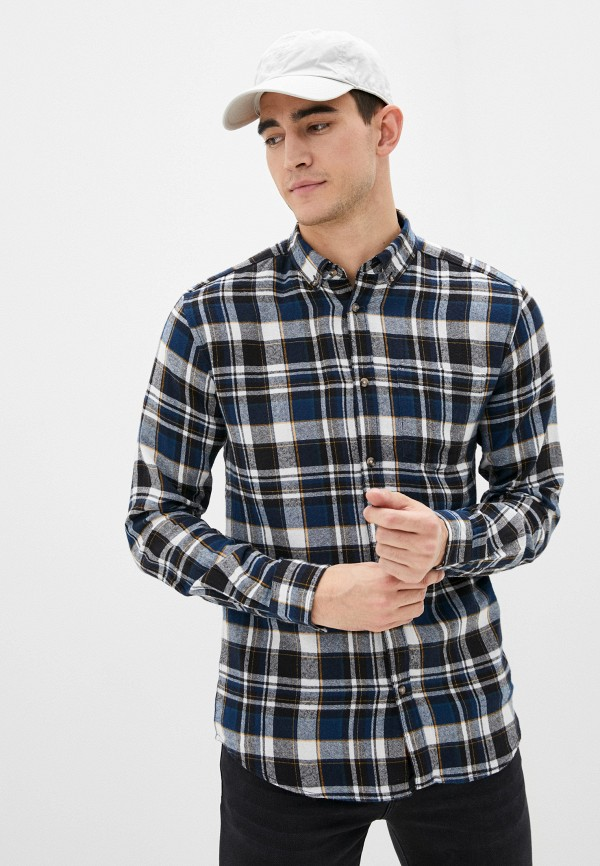 мужская рубашка с длинным рукавом only & sons, синяя