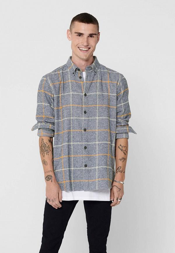 мужская рубашка с длинным рукавом only & sons, серая