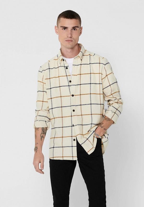 мужская рубашка с длинным рукавом only & sons, бежевая