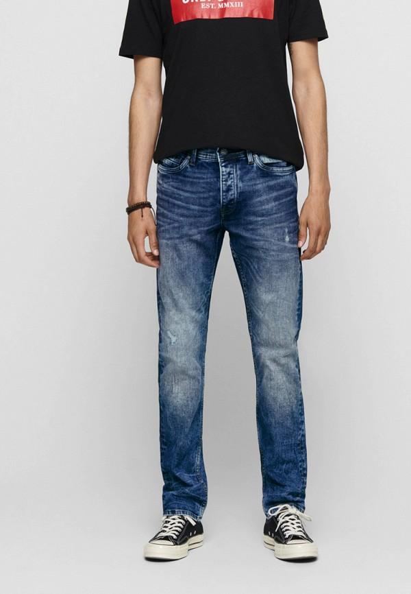 мужские зауженные джинсы only & sons, синие
