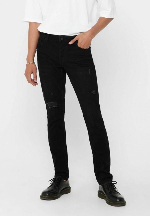 мужские зауженные джинсы only & sons, черные