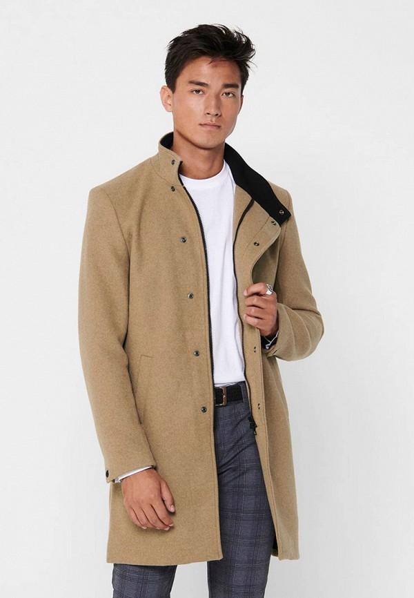 мужское пальто only & sons, черное