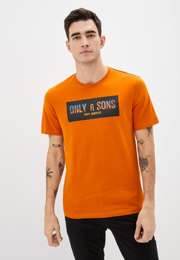 мужская футболка с коротким рукавом only & sons, оранжевая